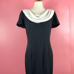 Vtg 90s B&W Drape Neckline Maxi Dress M